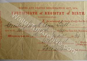 Cissie Tull's Birth Certificate