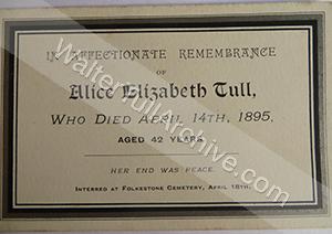 Funeral card for Alice Elizabeth Tull (née Palmer)