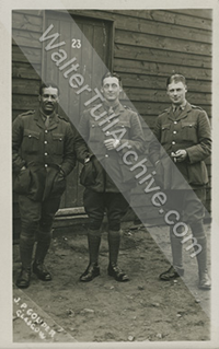 Photograph of Walter Tull with fellow officers