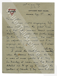 Letter from Walter Tull from the Front, 10 August 1917