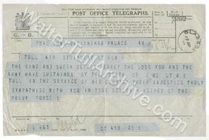 Original telegram of condolence